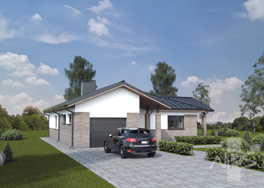"House project ""Morta"" has a small area - 146.84 m2, economical, A + energy efficiency class"
