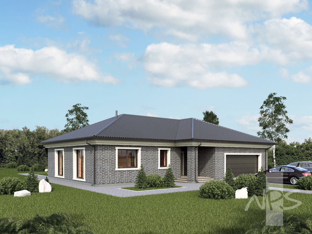 meida single storey house project with two place garage