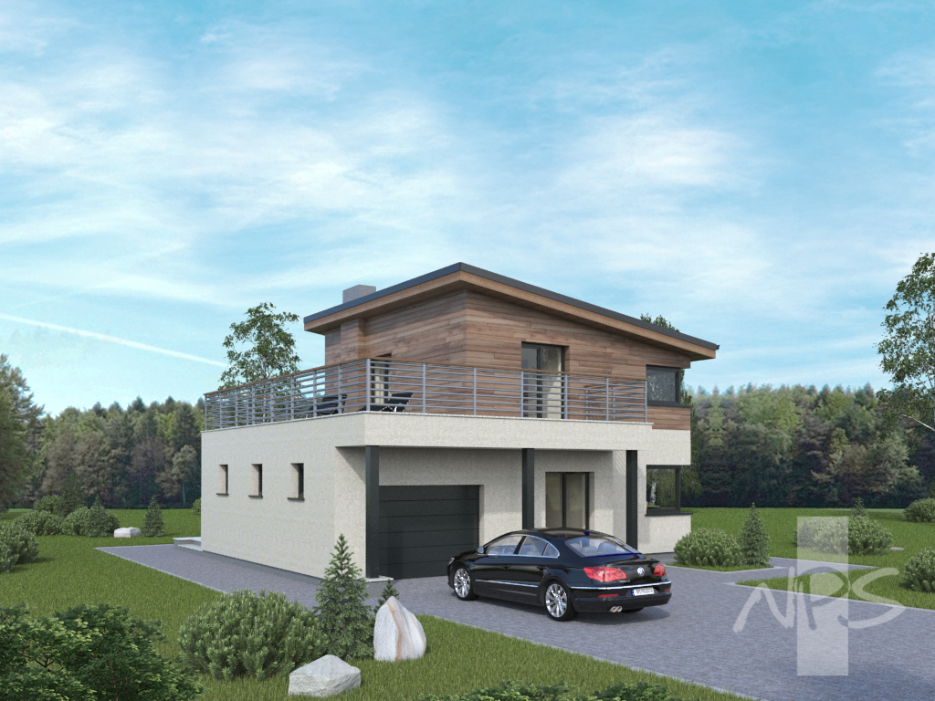 Simple two storey house project that stands out in the environment ... - ^